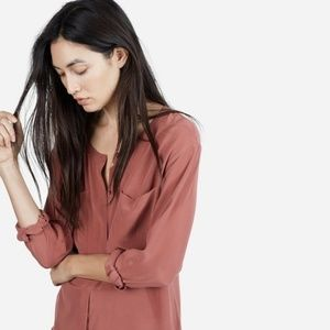 Everlane Collarless Silk Pocket Shirt in Red Clay